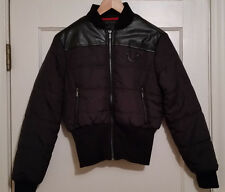 TRUE RELIGION *NEW* Womens BLACK DOWN Puffer JACKET SMALL LEATHER YOKE RIBBED