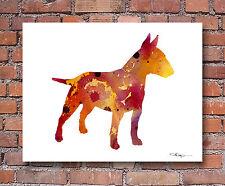 Bull Terrier Contemporary Watercolor Art Print by Artist Djr