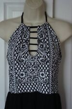 NWT WOMENS METAL MULISHA ORCHID BLACK WHITE LATTICE HALTER TOP DRESS L LARGE