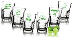 Sparset 6er Gin Tonic Gläser SCHRÄG mit Sprüchen DEUTSCH - lustige Gin-Gläser