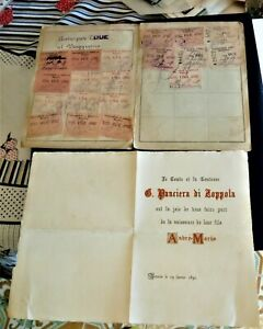 conte panciera di zoppola 1891 missiva auguri e libretto con cedole comm.mantova