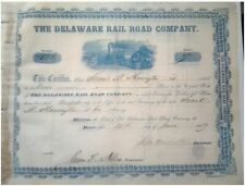 RARE 1850's 1ST ISS DELAWARE RR STOCK SIGNED BY GOVERNOR SAM HARRINGTON! CV $200