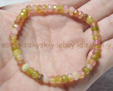 "Natural 4x6mm Pink Multicolor Kunzite FACETED Rondelle Beads Bracelets 7.5"""
