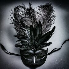 Venetian Black Masquerade Mask Show Girl Ostrich Top Feather Eye Mask Costume