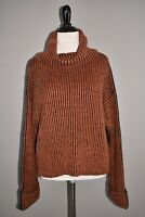 TOPSHOP NEW $75 Ribbed Knit Boxy Turtleneck Sweater in Rust / Black XS