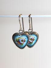 """Russian Finift Hand-Painted """"Flower Heart"""" Earrings"""