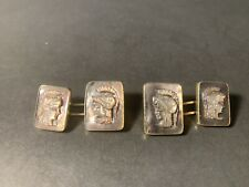 Vintage Sterling Silver Gold Finish Mother of Pearl Roman Soldier Cuff Links