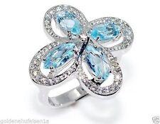 Echte Edelstein-Ringe mit Blautopas und Marquise/Navette für Damen