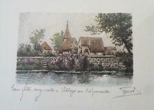 1d8a2b787e8 gravure Eau forte originale signée - Village au crépuscule Eglise Champêtre  BE