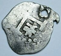 1700's Zoomorphic Spanish Lima Peru Silver 1/2 Reales Colonial Cob Holed Coin