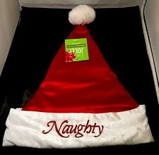 Santa Hat Naughty / Nice Reversible Soft Red w/ White Trim - Adult OSFM - NWT
