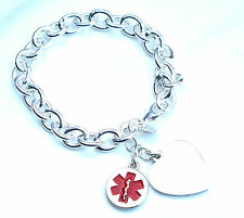 Ladies Womens Medical ID Charm Bracelet Personalised  Engraved Any Condition