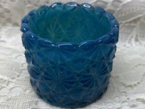 Blue milk art glass daisy and button pattern salt cellar dip holder candle light