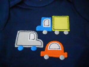 GERBER BABY BOY Onesies Bodysuits Orange 3-Pack Baby Shower Gift Car Truck NWT