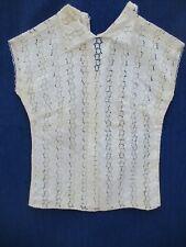 Chemisier N°8 en poly coton broderie anglaise dentelle sans manche blanc caraco