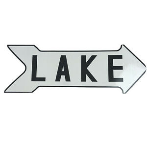 Metal Sign Arrow Lake White/Black 20 Inch