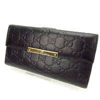 Gucci Wallet Purse Long Wallet Guccissima Black Woman Authentic Used C1151