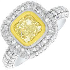 2 Tone Double Halo 2.50 CT GIA Fancy Yellow Cushion Cut Diamond Engagement 18k