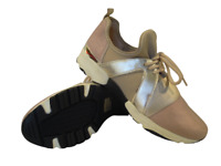 Kurt Geiger Trainers Carvela Size 7 Lace Up Beige Fabric Gold Sneakers RRP £140