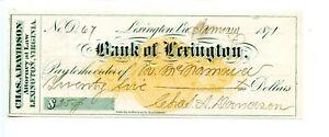 1871   Bank of Lexington. Virginia.   Revenue Bank Check RNC-1