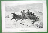 WINTER Joy Ride in Horse Cart - VICTORIAN Era Antique Print
