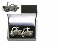 Steam Engine Cufflinks & Tie Clip Bar Slide Set Farming Gift 350