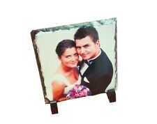Personalised Custom Printed Rock Slate Square Desk Display Photo Gift and stands
