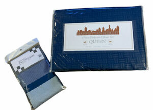 MANHATTAN HEIGHT QUEEN 4 Pc Sheet Set  Polyester NWT With Extra Pillow Cases