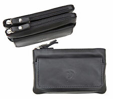 Prime Hide Luxury Large Black Leather Double Zip Top Coin Purse with Key Chain