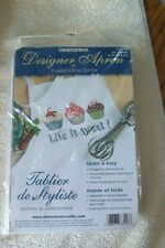 Life Is Sweet Apron Stamped Cross Stitch Craft Fabric New Sealed 73516