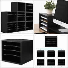 Wood Desk Organizer Work Space Storage Paper File Black Home Office Shelves New