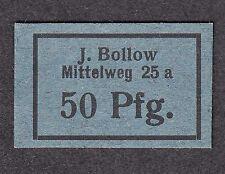 Hamburg -J. Bollow- 50 Pf. dunkelblauer Kartonschein-ohne Stempel-