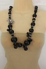 Women Black Big Beads Long Fashion Necklace Silver Metal Flower Charm Hot Look