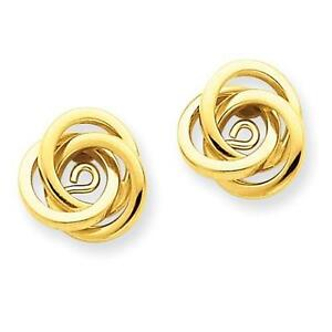 14k Yellow Gold Love Knot Cable Design Earring Jacket For Post Stud Earrings
