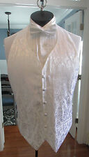MENS VINTAGE FORMAL VEST WHITE LAME MATCHING BOW TIE SIZE MEDIUM NB4