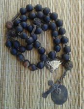 Ancien chapelet en perles noires, objet religieux, french antique religious (7)
