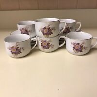 Vtg Set 6 China Demitasse Cups & Saucers Purple Floral Turkish Coffee Espresso