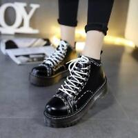 Retro Womens Lace Up Creeper Platform Brogue Round Toe Block Heel Pumps Shoes