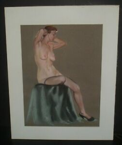 HUGE LOVELY 22x28 vintage 1950s mat framed NUDE CHARCOAL DRAWING unsigned
