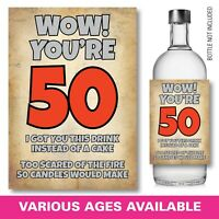 50th Birthday, Funny, Humorous, Sarcastic Wine GIN Whiskey Bottle Label Gift 145