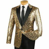 VINCI Men's Gold Leopard Print Sequins 1 Button Peak Lapel Tuxedo Jacket NEW