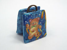 Limoges France Peint Main Teddy Bear Holly Shopping Bag Trinket Box, #293/300