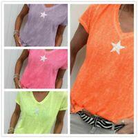 Summer Short Sleeve Plus size Beach Ladies Tops Womens Loose Blouse T Shirt
