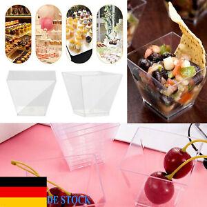 DE Kunststoff Transparent Kuchen Dessertbecher Einweg Dessert Schälchen Tassen