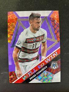 2020-2021 20-21 Mosaic Soccer Purple Fluorescent /70 Bruno Fernandes Wiil to Win