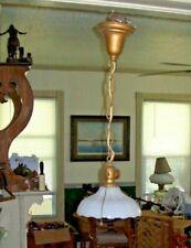 "VTG ANTIQUE 8"" WIDE WHITE GLASS  HANGING LAMP/LIGHT"