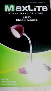MAXLITE LED DESK LAMP , USB PORT, BURGUNDY, PINK OR  BLUE FLEXIBLE NECK