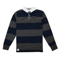 Epona Fairtrade Cotton - Mens Rugby Shirt - Stripey Navy/Grey - Size XS,S,M,L,XL