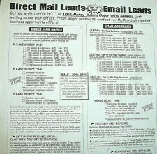 EMAIL ADDRESSES LEADS ON LINE 1,000 to 100,000 Money Making Opportunity Seekers!