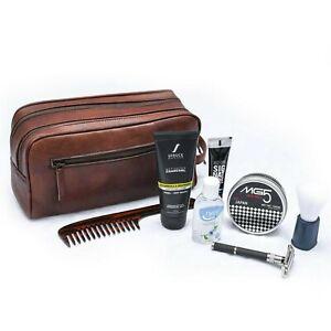 Genuine Goat Leather Brown Toiletry Bag, Leather Travel Dopp Kit For Men & Women